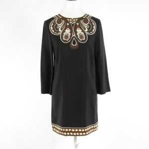 Tibi black silk 1/2 sleeve shift dress 6